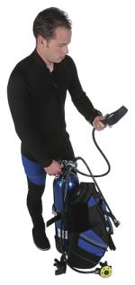 Diver checking his air pressure and scuba computer