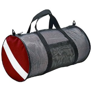 A scuba diving gear mesh bag.