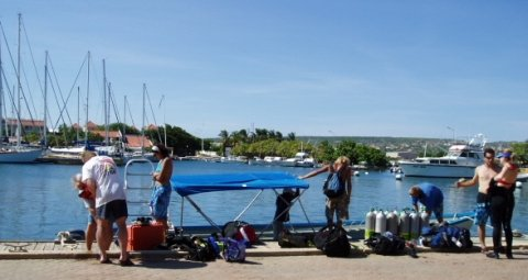 Getting ready to go scuba diving in Bonaire.