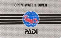 Scuba dive certification card from PADI
