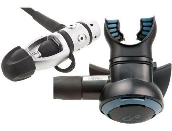 Scuba diving regulator with close up of mouthpiece