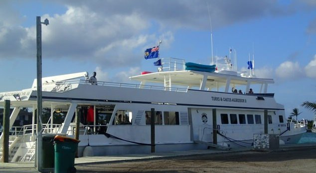 The liveaboard, Turks and Caicos Aggressor, docked at marina.