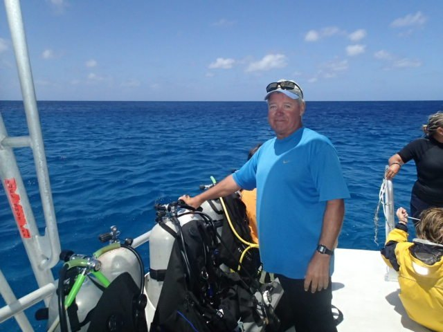 Tim relaxing after scuba diving in Turks and Caicos