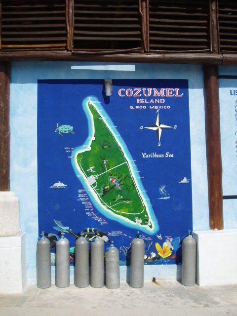 Map of Cozumel scuba diving sites. A top place to scuba dive