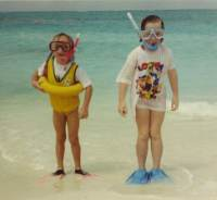 My two nieces with their kids snorkeling gear.